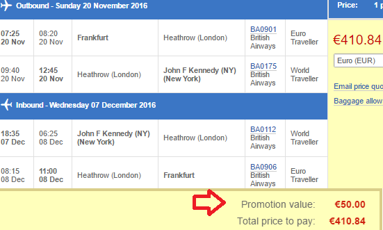 British Airways promotion code - €50 discount on flights!