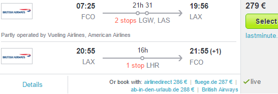 Cheap flighs to California from Europe starting at €279!