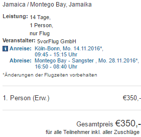 Cheap last minute flights to Jamaica from Germany for €350!