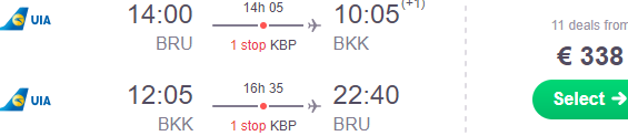 Return flights from Brussels to Bangkok from €338!