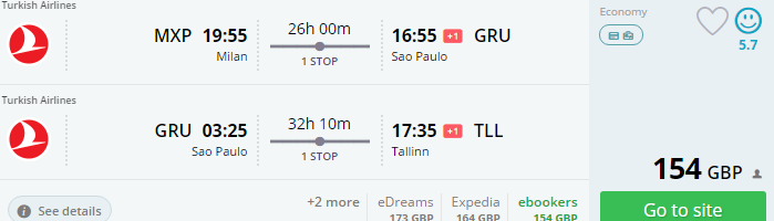 Open jaw flights from Europe to Brazil from €195!