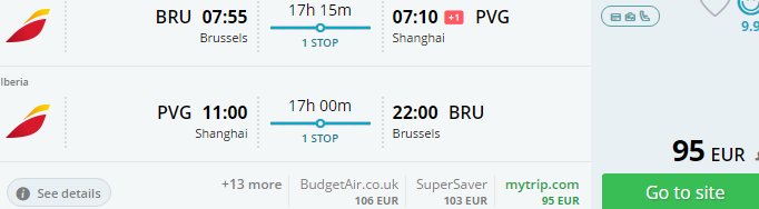 Error fare return flights to Shanghai from €95!