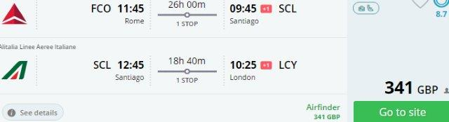 Chile: open jaw flights Italy - Santiago - London £341!