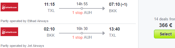 Return flights from Germany to Thailand from €366!
