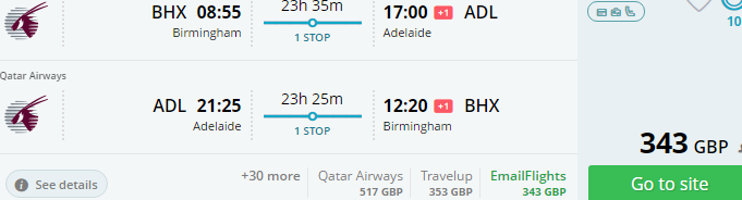 Super cheap error fare flights from UK to Australia Adelaide great special offers Qatar Airways promotional sale
