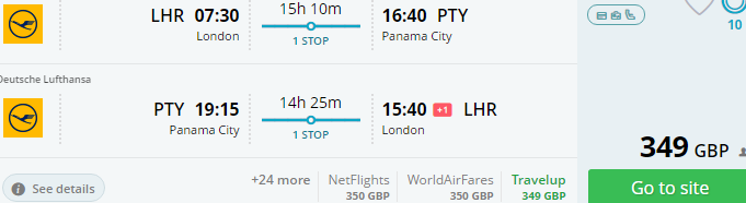 Return flights from London to Panama from £349!