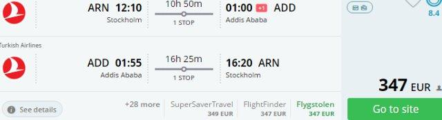 Return flights from Europe to Ethiopia from €347!