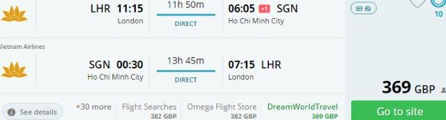Direct flights from London to Vietnam £369!