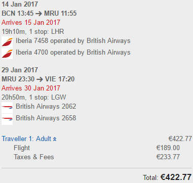 British Airways: cheap open jaw flights to Mauritius from €423!