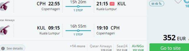Denmark to Malaysia (KL, Borneo, Langkawi, Perhentians) from €352!