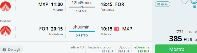 Cheap direct flights from Italy to Brazil from €385!