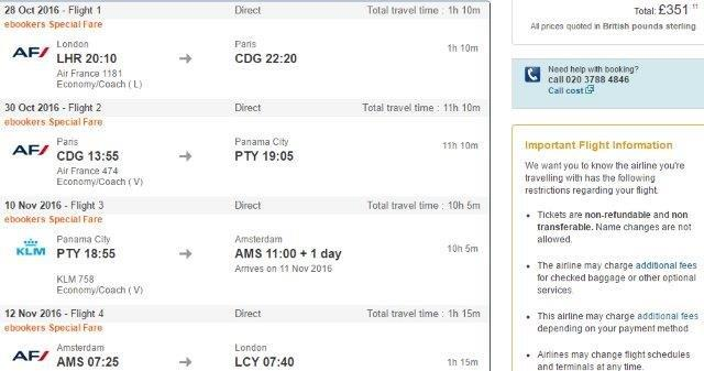Multi-city flights London to Panama, Paris and Amsterdam £351!