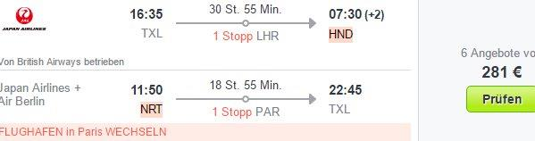 Cheap return flights from Germany to Japan from €284!