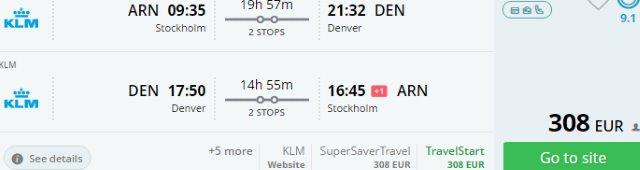 Denver from Scandinavia / Ireland from €308 / €419! (exit in London available)