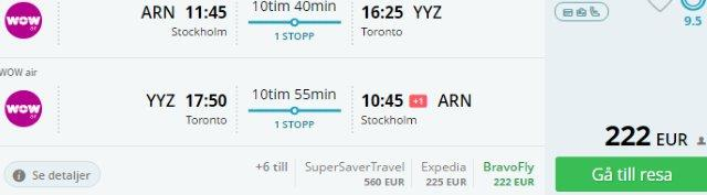 Return flights from Europe to Toronto already for €222 or £223!