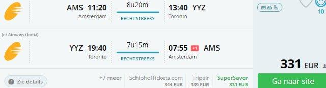 Direct flights from Amsterdam to Toronto from €331!
