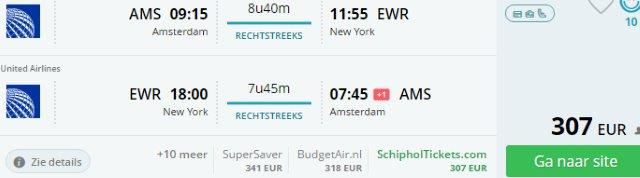Amsterdam to various cities in North America from €294!