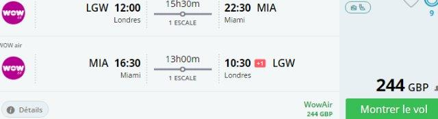 Return flights from Europe to Miami for £244/€291!
