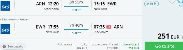 SAS Scandinavian Airlines promotion - Europe to USA €251 or China €298!