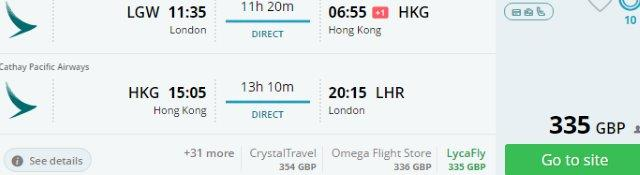 Cathay Pacific promotion: direct flights UK - Hong Kong £335, Borneo or Bali £383!