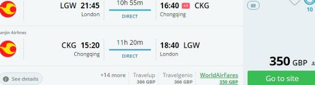 Direct return flights from London to Chongqing from £350!