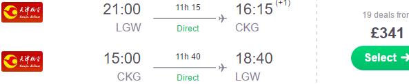 Direct return flights from London to Chongqing from £341!