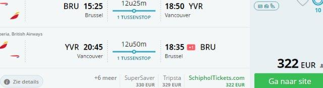 Cheap return flights from Brussels to Vancouver from €322!