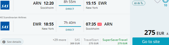 SAS Scandinavian Airlines promotion - Sweden/Norway to USA €275, China €286!