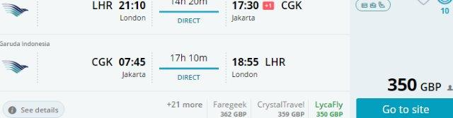 Garuda Indonesia flights from London to Jakarta, Bali, Lombok from £350!
