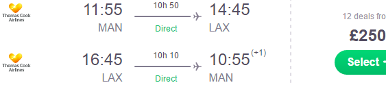 Thomas Cook Airlines 24h flash sale: Manchester to Los Angeles £250!