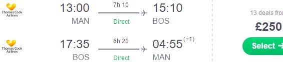 Cheap direct flights from Manchester to Boston £250!