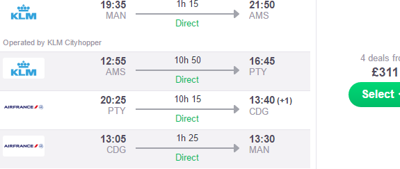 Multi-city flights from UK to Panama, Paris and Amsterdam £311!