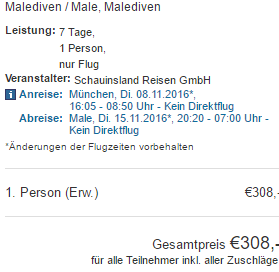 Return flights from Munich to tropical Maldives from €308!