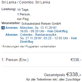 Return flights from Germany to Sri Lanka from €338!
