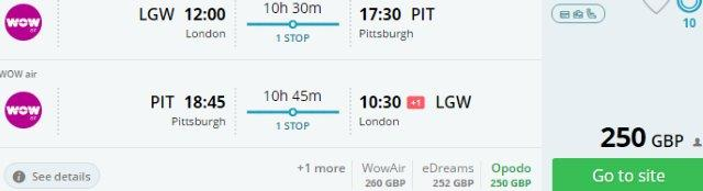 Low-cost flights from Europe to Pittsburgh from £250 or €286!
