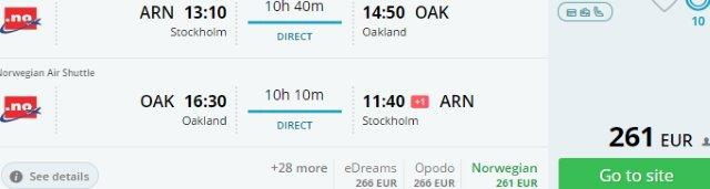 Return flights from Europe to California (Oakland) from €261 or £255!
