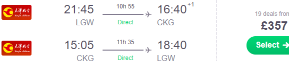 Direct return flights from London to Chongqing from £357!