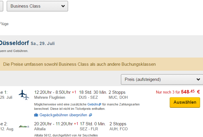 Business class summer holidays flights to Seychelles €548!