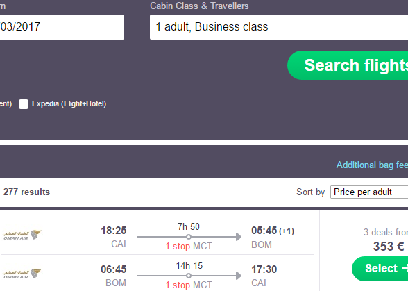 Business class flights from Cairo to India €353, Thailand €453!