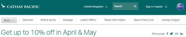 Cathay Pacific promotion code 2018 - 10% discount flights from the UK!