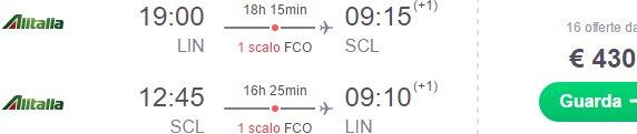 Alitalia flights from Italy to Santiago de Chile from €430!