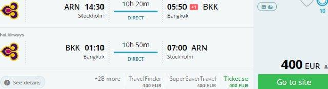 Thai Airways promotion: Non-stop to Bangkok from Stockholm €400, Brussels €444, Paris €463!