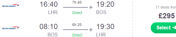 British Airways non-stop flights from London to Boston from £295!