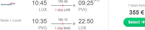 Shanghai from Benelux €355, Oslo €371 or non-stop from Madrid €411..