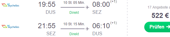 Non-stop flights from Dusseldorf to Seychelles €522! (+ Multi-city solution to both Mahe and Praslin for €583)