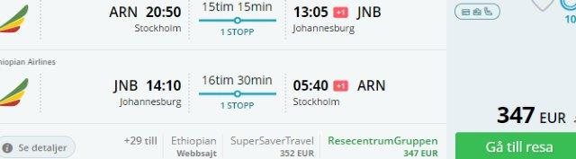 Return flights from Stockholm to Johannesburg from €347!