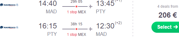 AeroMexico promotion: Madrid to Panama €206, Peru €256 or non stop to Mexico City €284! (From Paris €422)