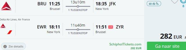 Cheap flights to USA - Brussels to New York from €282!