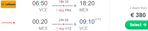 Return flights from Italy to Mexico City from €380!
