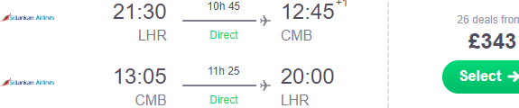 Cheap non-stop flights from London to Sri Lanka from £343 (€384)!